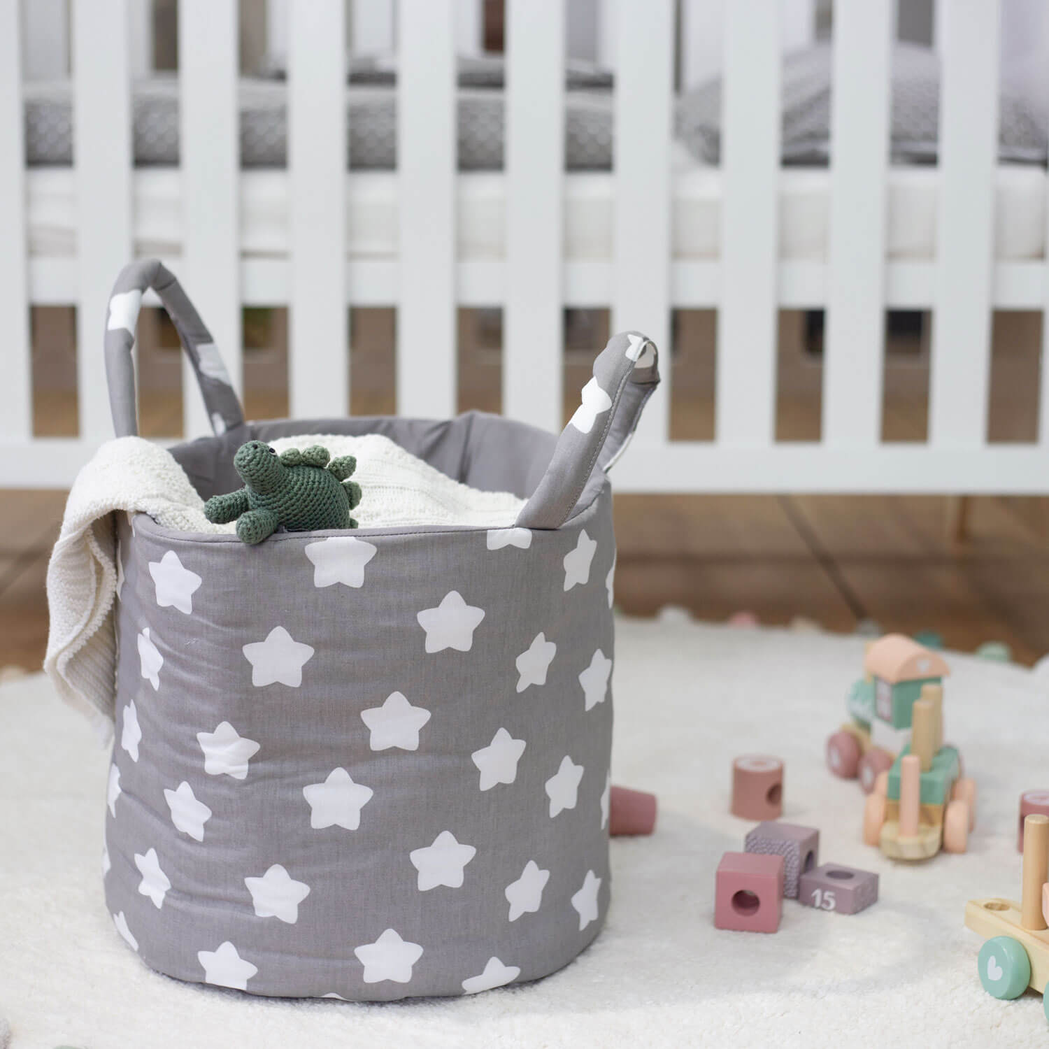 Puckdaddy storage basket 100% cotton, stars gray