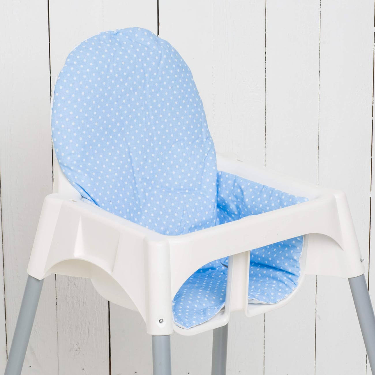 Seat cushion Jörn, dots/light blue matching IKEA high chair antelope