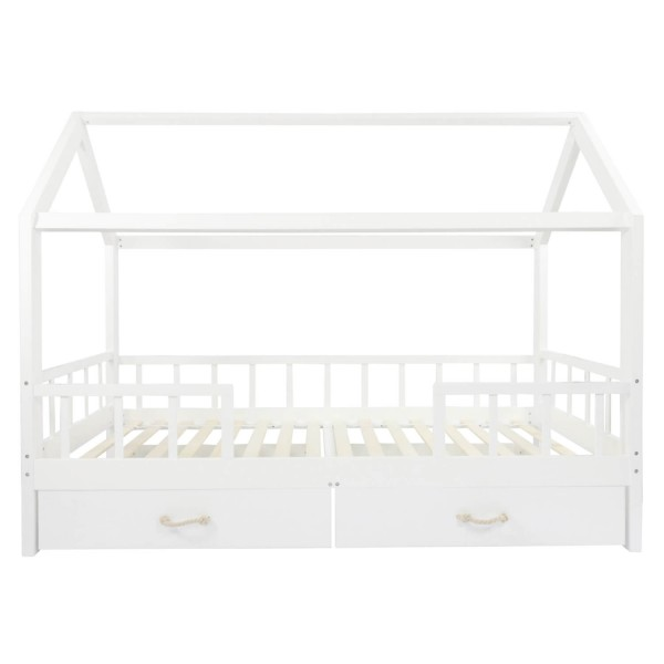 Puckdaddy house bed white with safety barriers and drawers