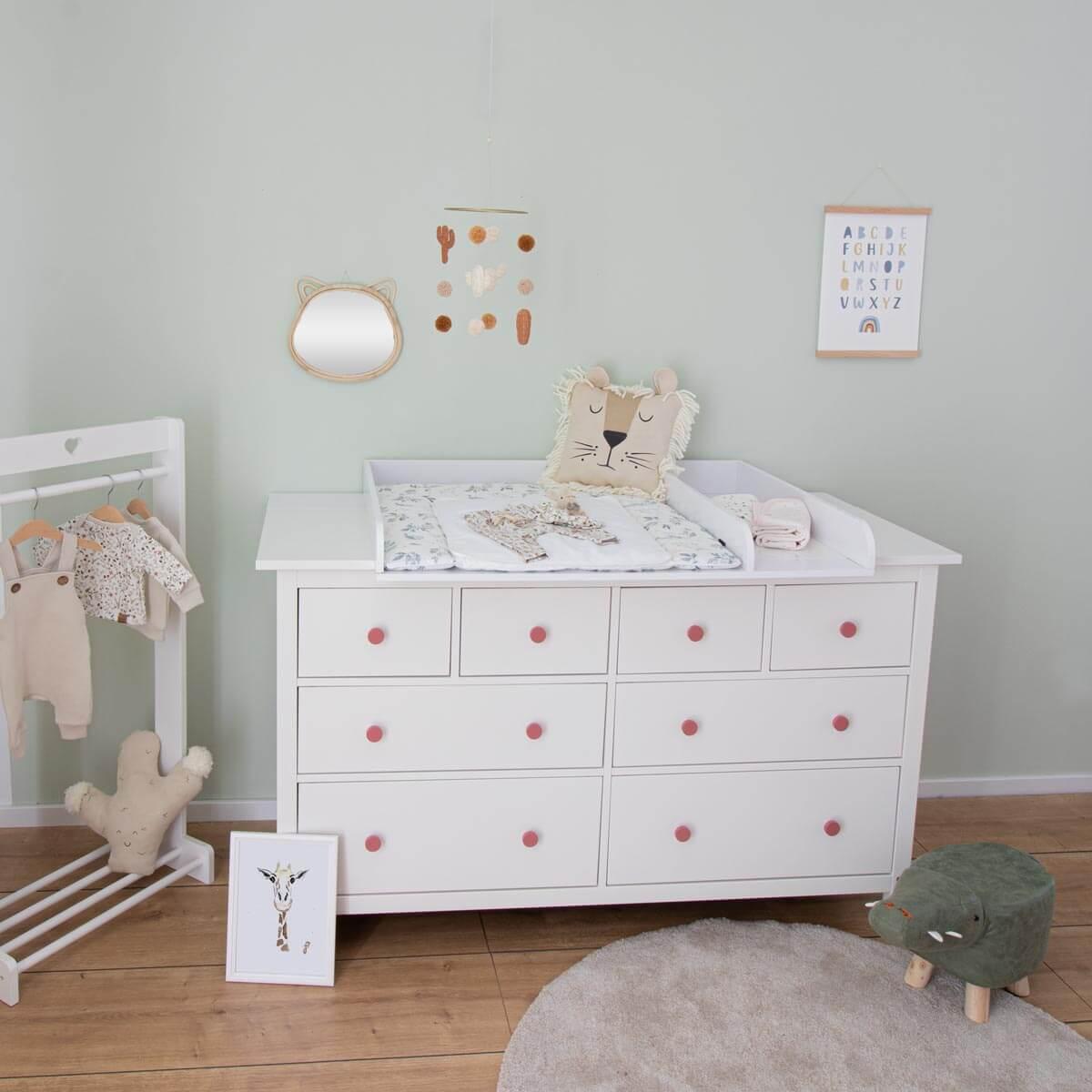 Wickelaufsatz Matz mit 159,5 cm Blende und Trennfach, weiß, IKEA Hemnes