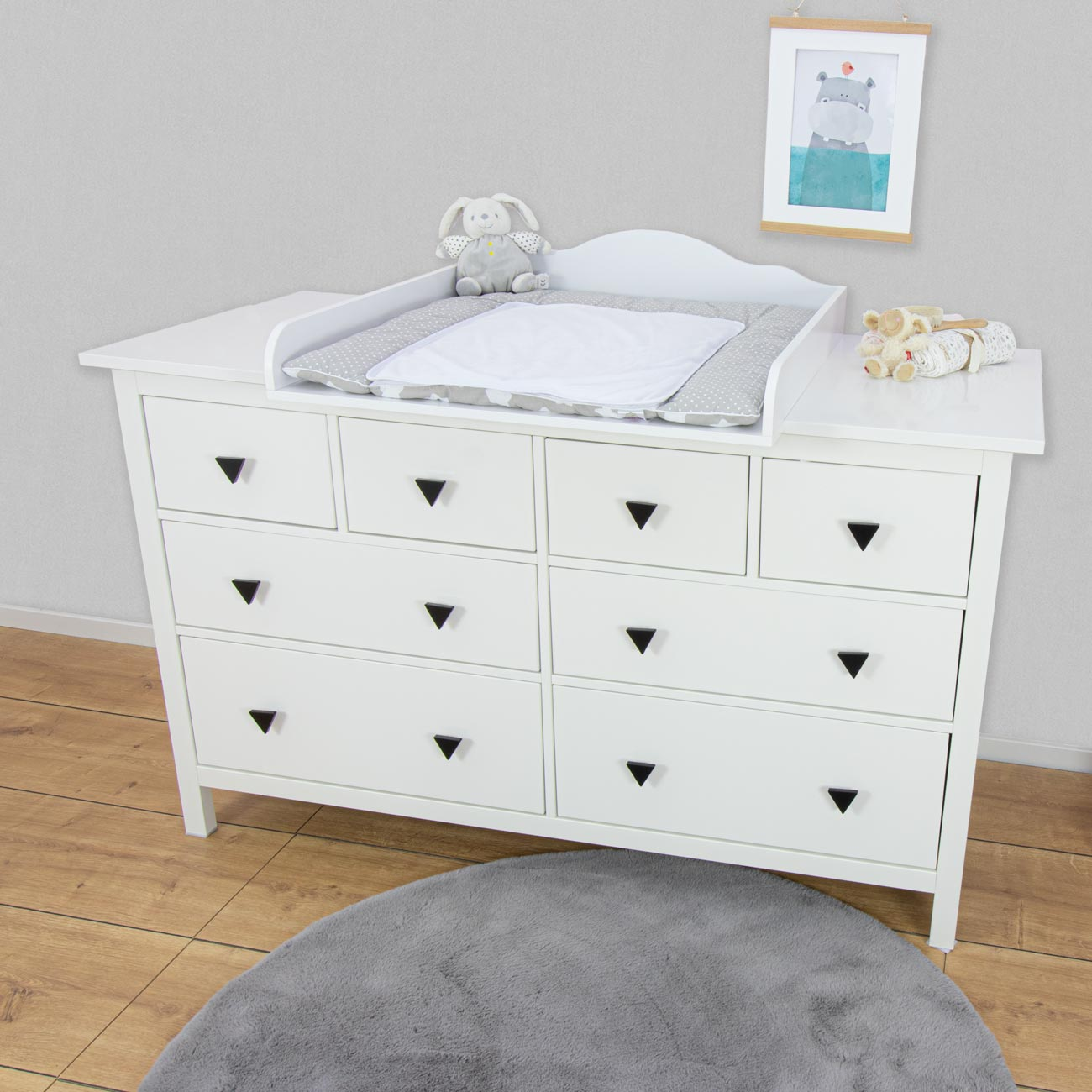 Changing top Emil with 159.5cm wide cover, white, IKEA Hemnes