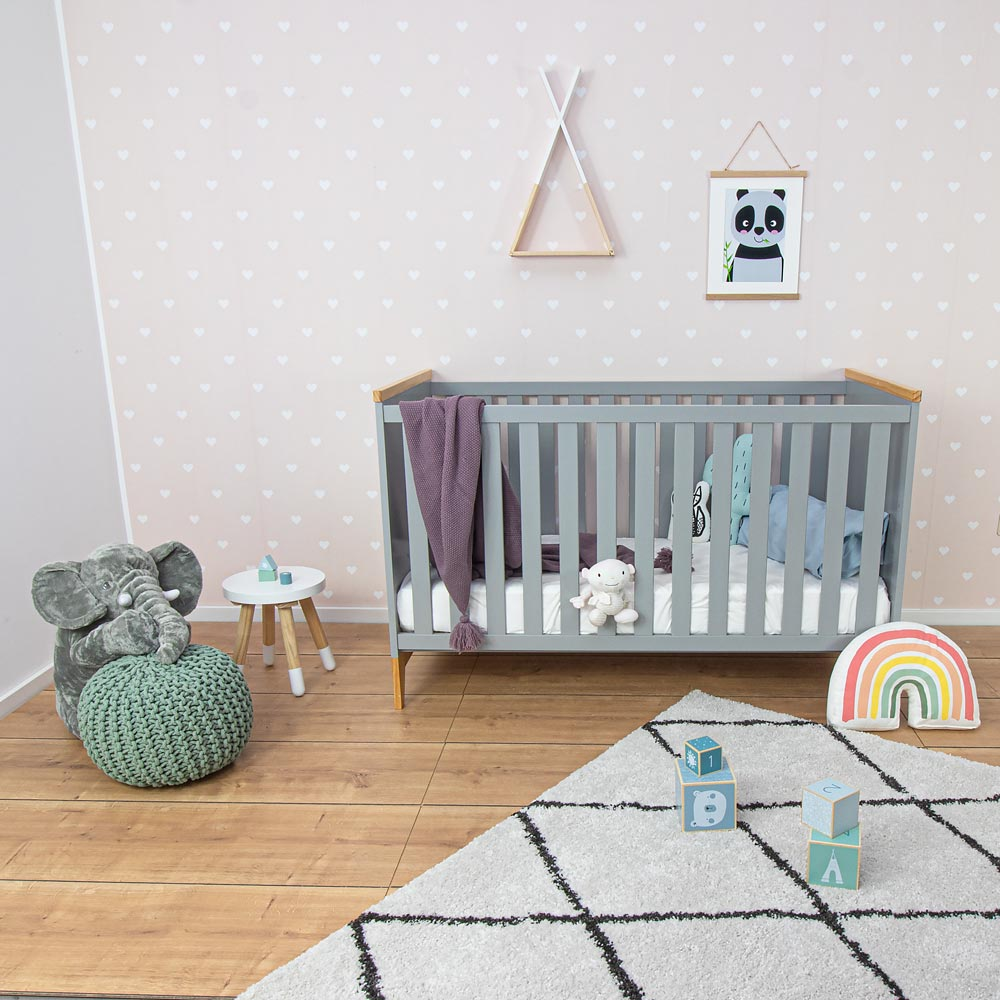 Exhibit: Baby cot Ida, grey, 140x70 cm