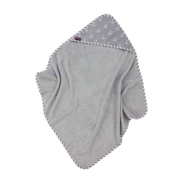 Hooded towel Greta, grey, 80x78 cm