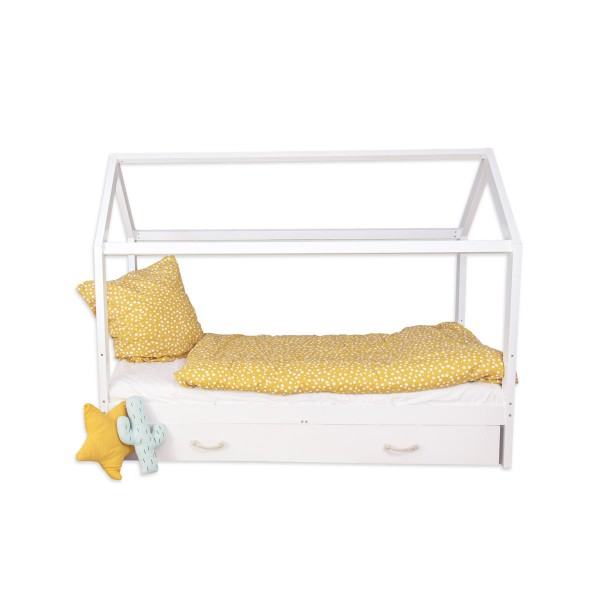House bed Carlotta with additional bed- 90x200 cm, with removable fall out protection in white