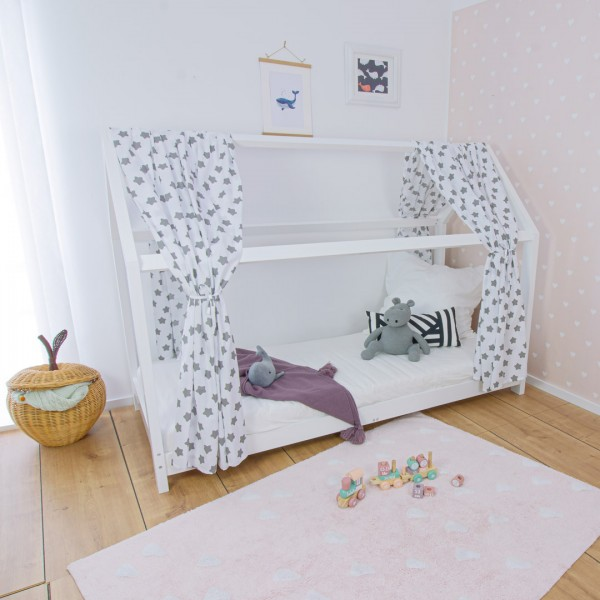 House bed Finn with house bed curtain, white, 90x200cm