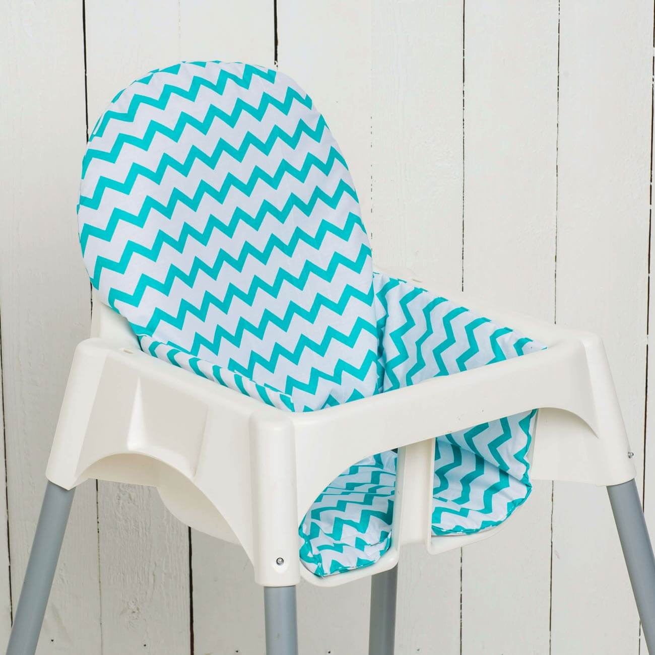 Seat cushion Sven, chevron petrol matching IKEA high chair antelope