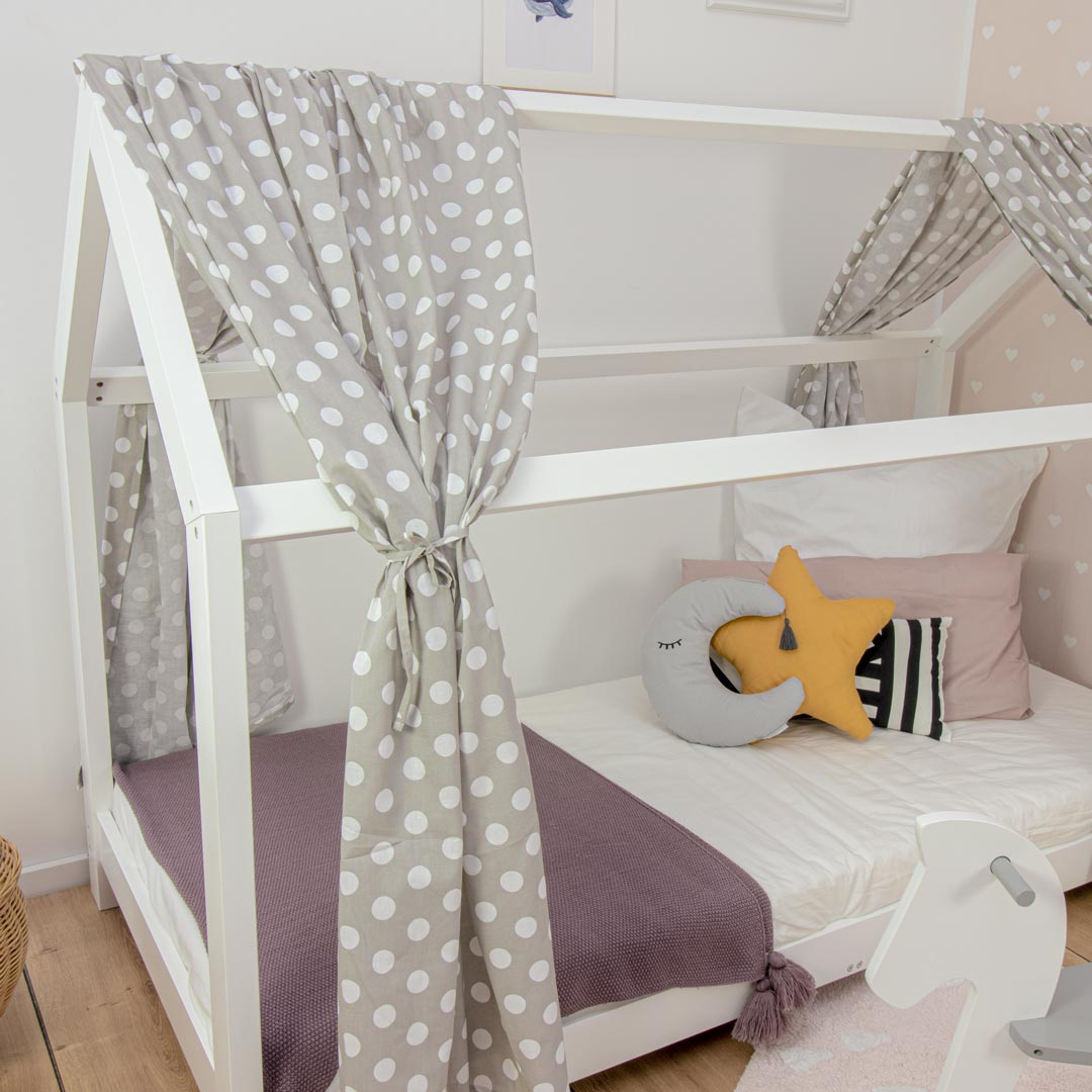 House bed curtain Smilla, dots grey, 146 x 298 cm