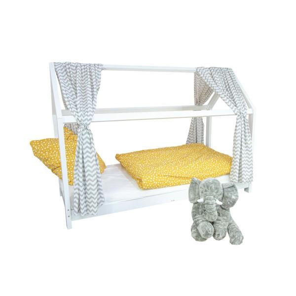Puckdaddy Kinderzimmer Hausbett Finn mit Vorhang Svea