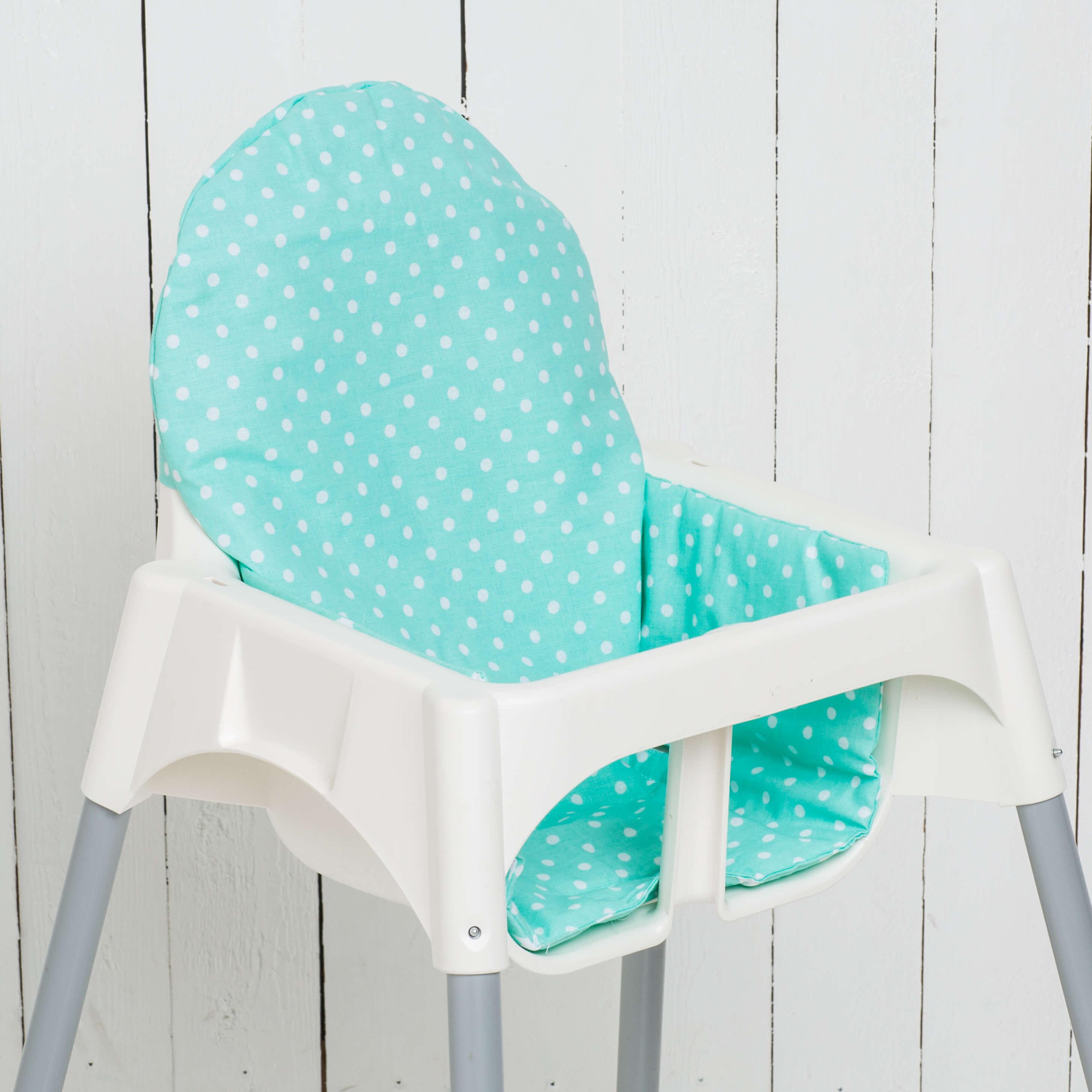 Seat cushion Yanis, dots/mint matching IKEA high chair antelope