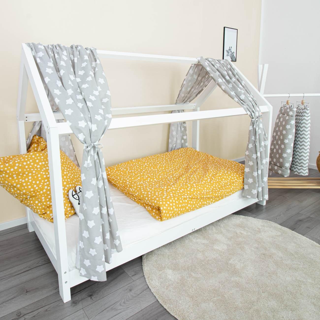 House bed curtain Finja, stars grey, 146 x 298 cm
