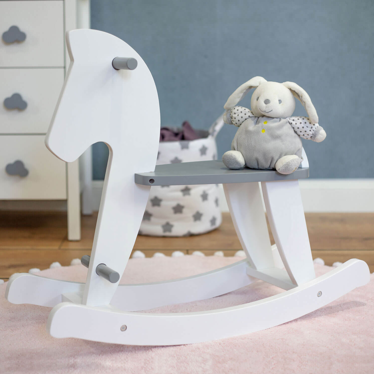 Rocking horse Nino, white/ grey, 79x26x63 cm