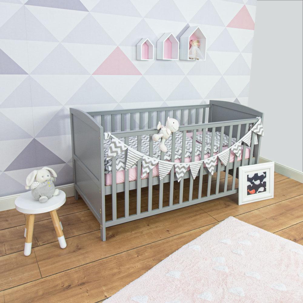 Baby cot Mika, grey, 140x70 cm