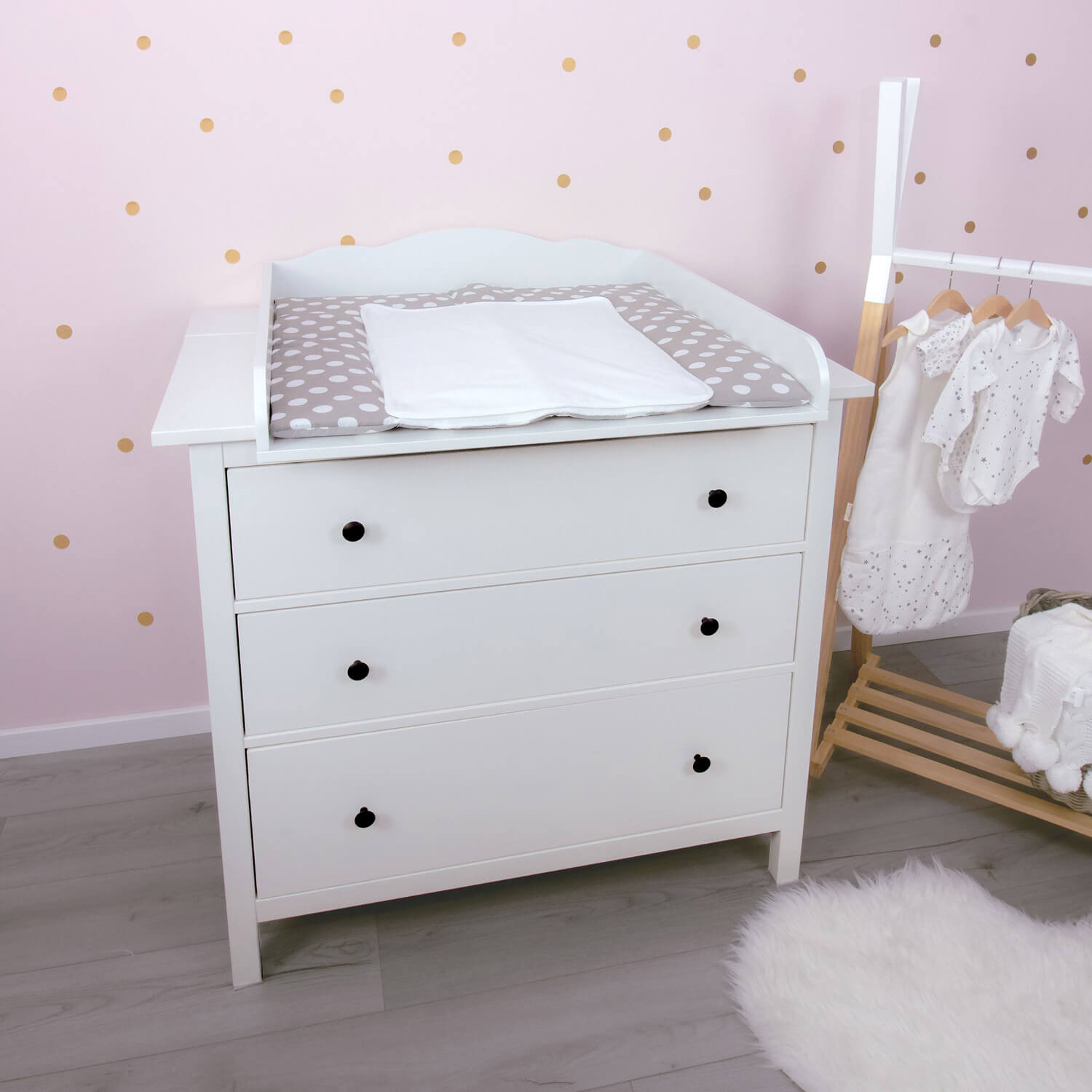 Linus changing top with wide cover, white, IKEA Hemnes