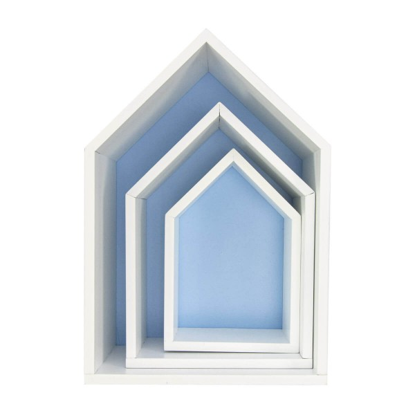 Hausregal Elise, 3er-Set, blau
