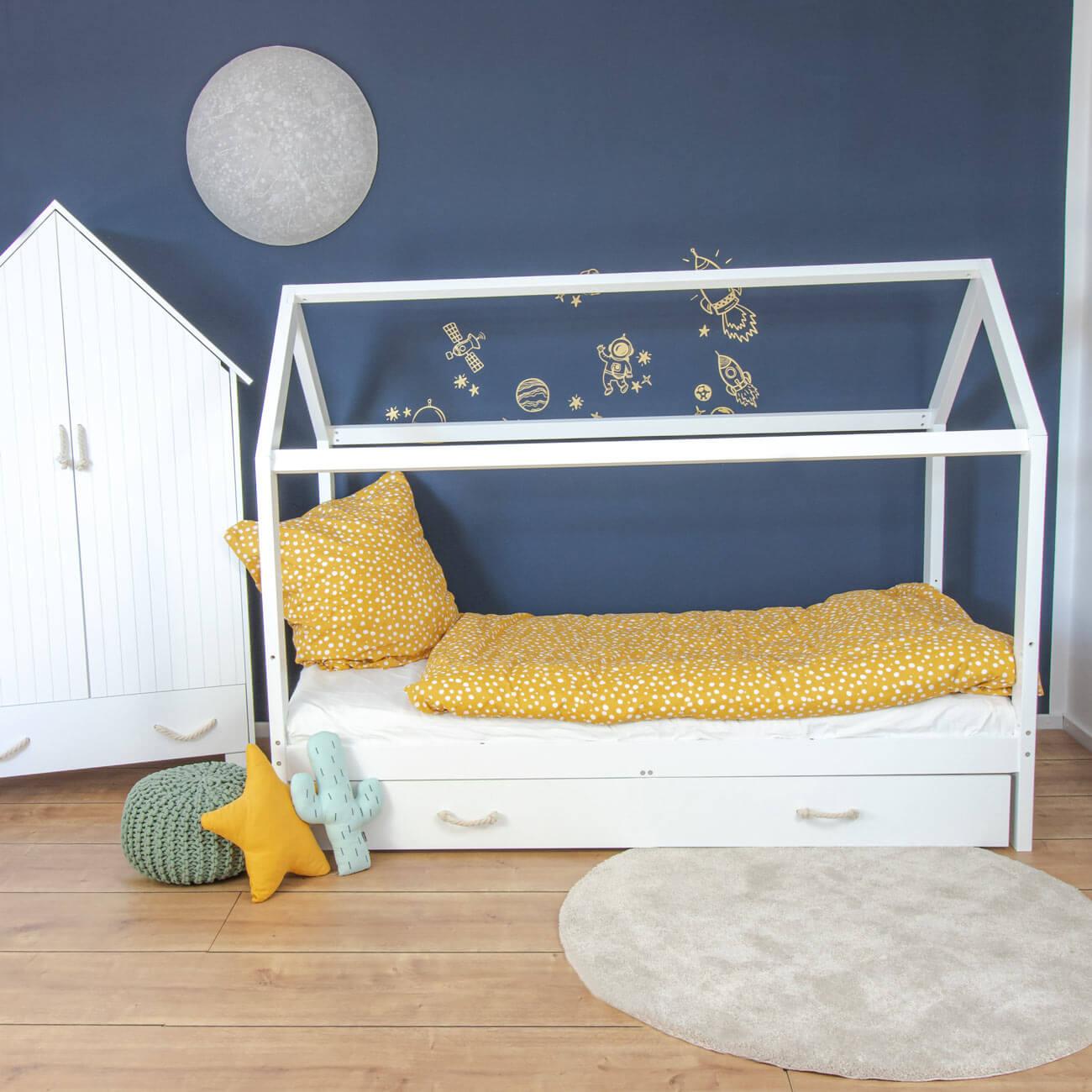 Hausbett Carlotta mit Unterbett - 90x200 cm, abnehmbarer Rausfallschutz in weiß
