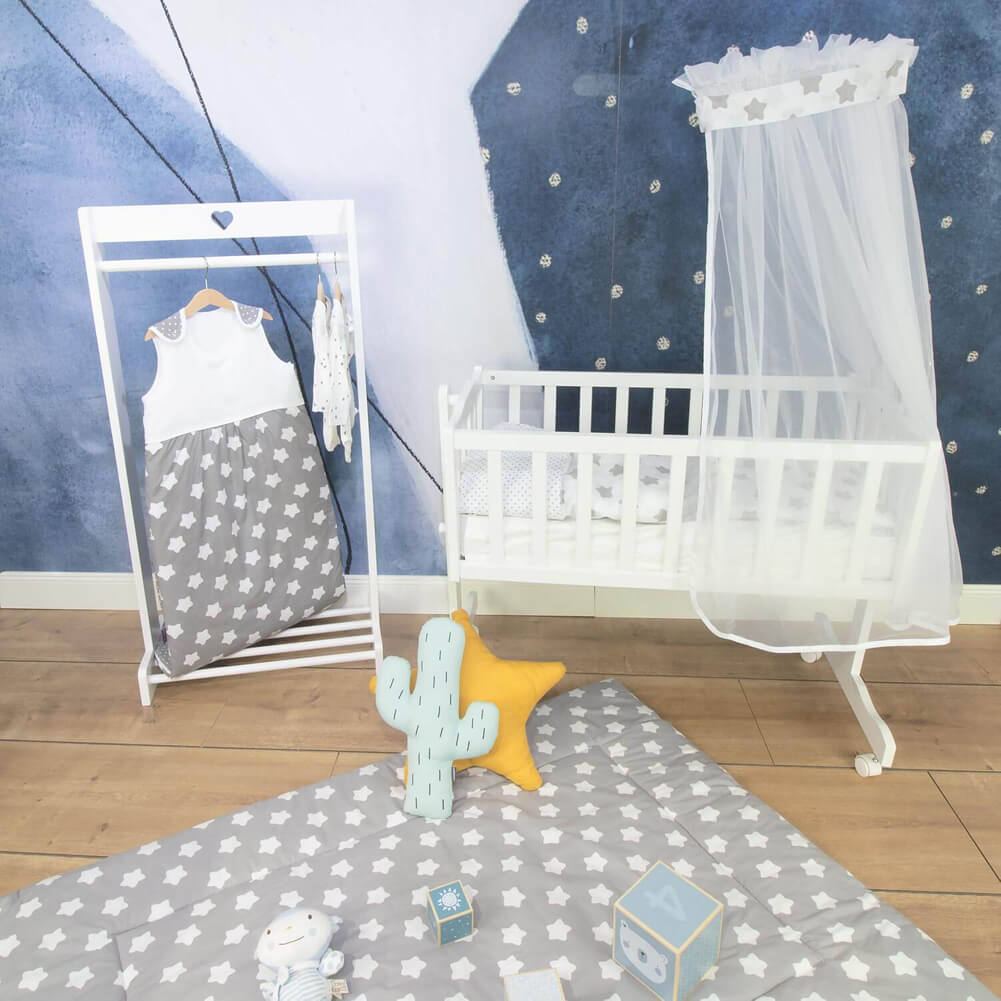 Puckdaddy all-season baby sleeping bag gray with stars and dots