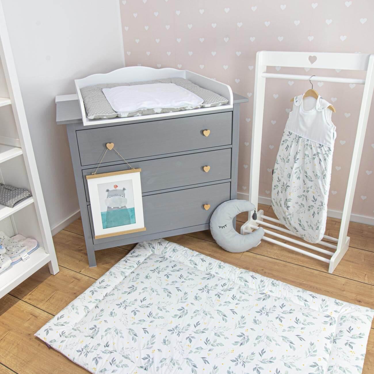 Play mat Flora, white, green 140x100 cm