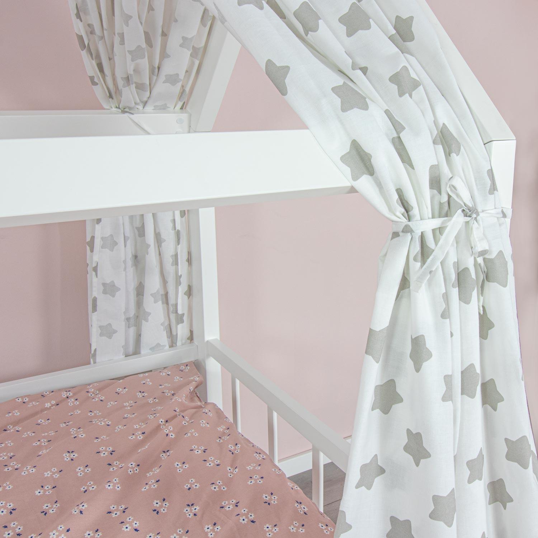 PuckDaddy Hausbett Vorhang Smilla 2er-Set Stoffhimmel aus 100/% Baumwolle in Grau mit P/ünktchen Muster 146 x 298 cm hochwertiger Bettvorhang f/ürs Kinderzimmer