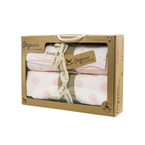 Organic baby blanket set Juna, pink