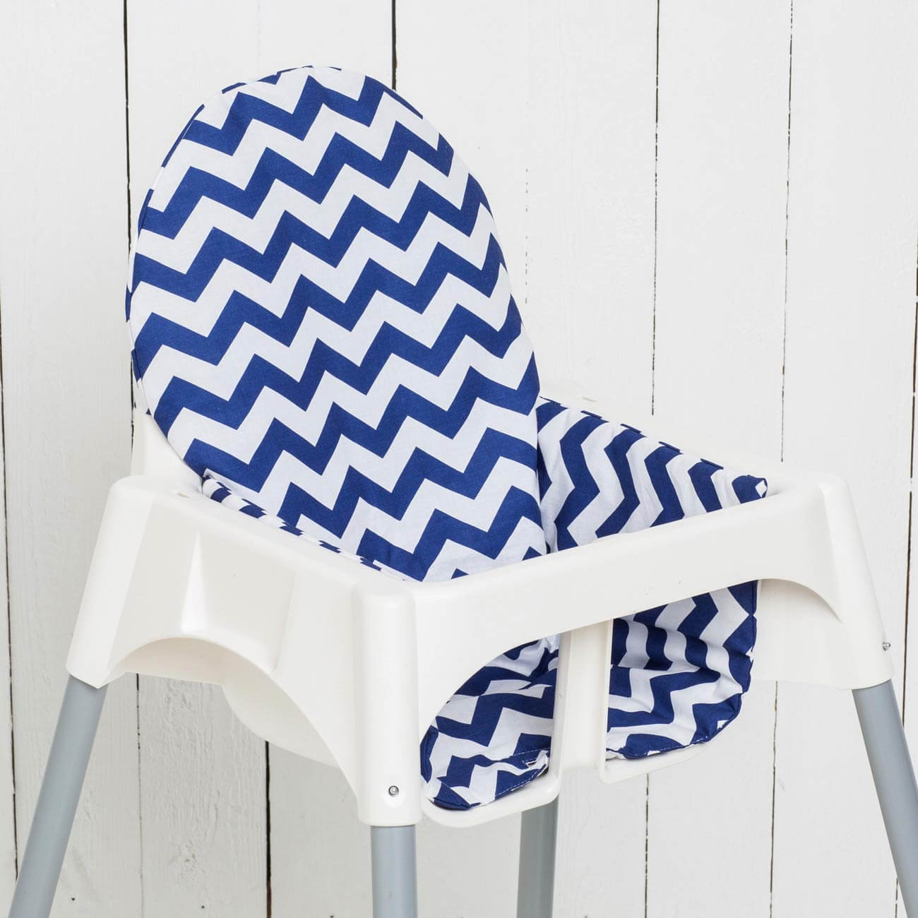 Seat cushion Luca, chevron blue matching IKEA high chair antelope