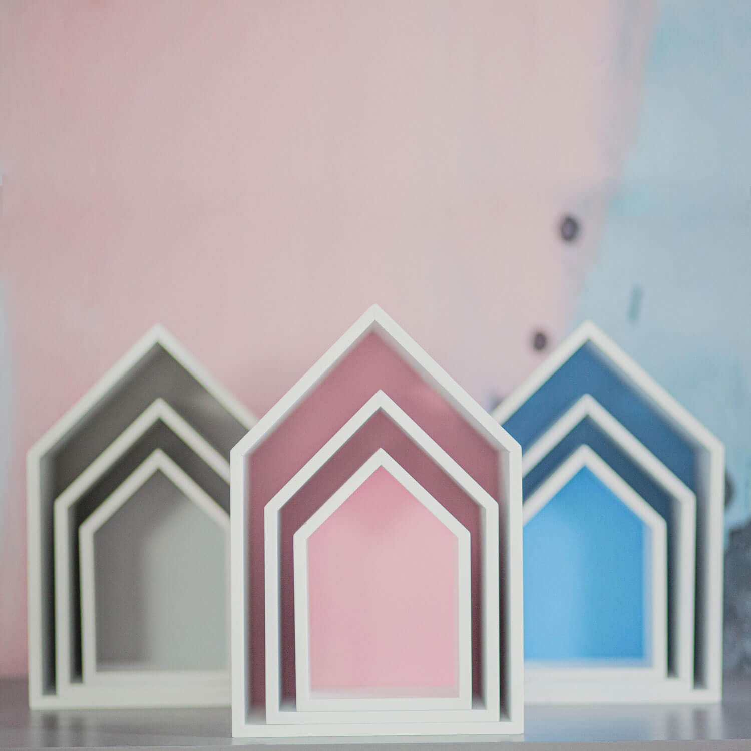 Exhibit: House shelf Elise, Set of 3, pink