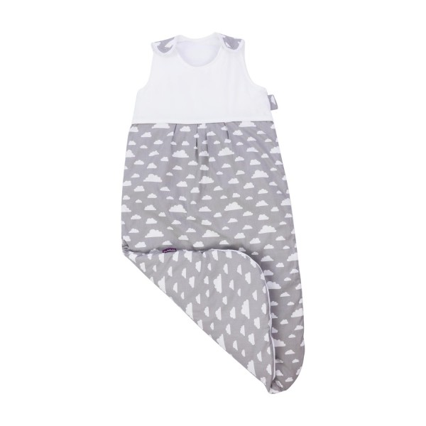 Puckdaddy sleeping bag with cloud print in gray-white