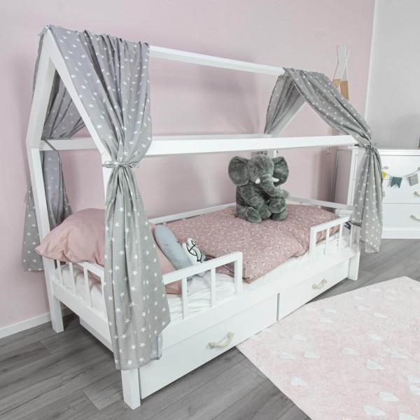 House bed curtain Frida, stars grey, 146 x 298 cm